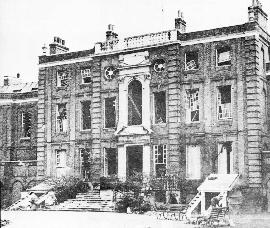 Roehampton House after bomb damage 1940