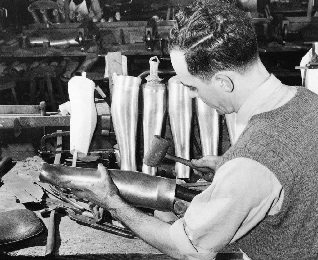 Duralumin shins being hand shaped 1950s