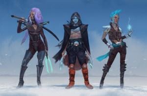 Voici des exemples de Glaive, Jack et Nano. Ces derniers sont présentés avec un style cyber-punk très coloré.