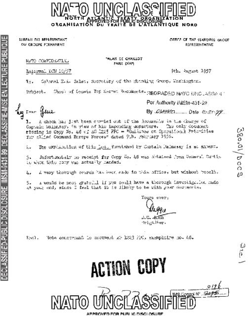 CHECK OF COSMIC TOP SECRET DOCUMENTS - NATO Archives Online
