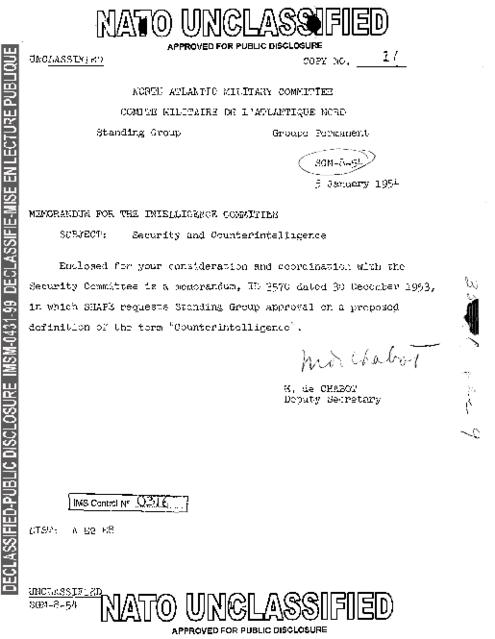 SECURITY AND COUNTER-INTELLIGENCE - NATO Archives Online