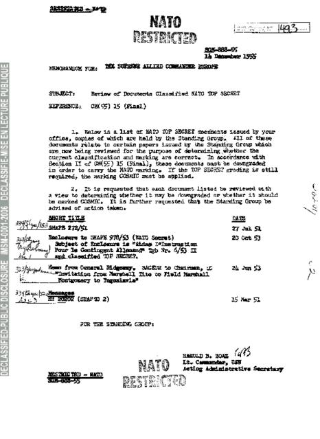 REVIEW OF DOCUMENTS CLASSIFIED NATO TOP SECRET - NATO ...