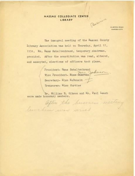 Inaugural Meeting Minutes, 1934