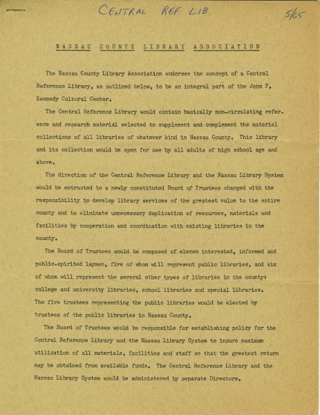 NCLA Endorses the Central Reference Library, 1965