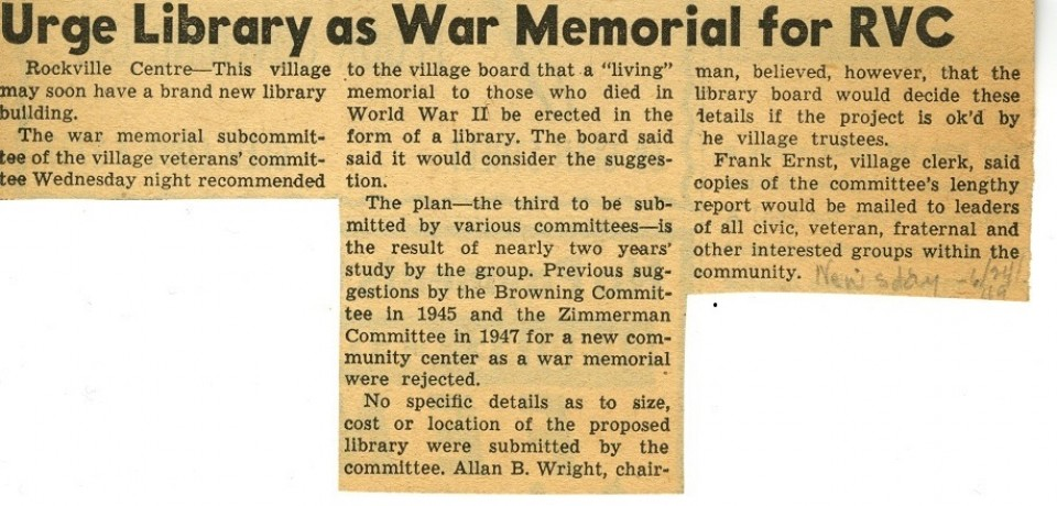Urge Library As War Memorial For RVC
