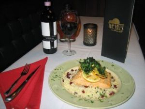 The Hills extensive list of entrées includes salmon arancione stuffed with Maryland crabcake and finished with a Grand Marnier cream sauce. Wines include a 2001 Gaja Brunello 'Rennina. Michele Morcey Republican-American