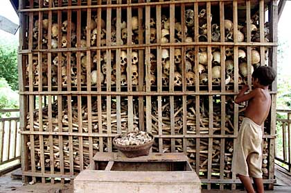 The remains of a fraction of the Cambodians murdered in The Killing Fields