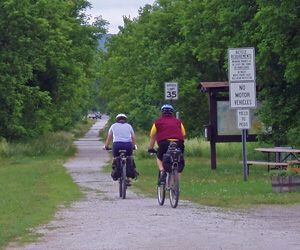 Speed limits on a bike trail? You've gotta be kidding! Actually, I'm guessing the sign is meant for snowmobilers as they pass through the village of Sheldon Springs on the Missisquoi Valley Rail Trail. Hard to pedal that fast on a flat gravel trail! Tim Jones / Republican-American