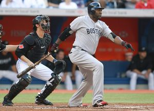 Boston Red Sox's David Ortiz hits a double during recent baseball action against the Toronto Blue Jays in Toronto. AP