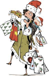 300 dpi Tim Lee color illustration of woman struggling to eat a sandwich while balancing holiday shopping bags and baby. The News & Observer (Raleigh, N.C.) 2008  holiday lunch illustration hurried eating shopping busy multitasking baby mall bags sandwich food court nutrition diet santa claus hat stress mother mom, krtbusiness business, krtfeatures features, krtlifestyle lifestyle, krtnational national, leisure, krt, mctillustration, gastronomy, krtfood food, krtchristianity christianity, krtchristmas christmas, krtholiday holiday, krtreligion religion, krtwinter winter, krtxmas xmas, public holiday, religious festival, religious holiday, department store, krtconsumergoods consumer goods, krtnamer north america, krtstore store, krtusbusiness, retail, u.s. us united states, krtdiversity diversity, woman women, REL, FEA, LIF, LEI, FIN, 04000000, 10000000, 10011000, 1201, 10003000, 04007002, 04007003, 04007005, 2008, krt2008, lee ra contributed coddington mct mct2008