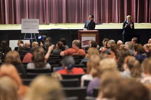 Gov. Dannel Malloy listens to a question Thursday night from an audience member in the auditorium at Torrington High School. It was the latest stop on Malloy's education reform tour. Teachers, parents and administrators filled the room. Erin Covey Republican-American.