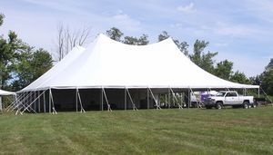 The Litchfield Jazz Festival performance tent is up at the Goshen Fairgrounds in preparation for the opening of the festival on Friday. John McKenna/RA