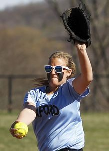 Oxford, CT- 25 April 2013-042513CM02- Oxford's Ashley Guillette delivers a pitch against Notre Dame during SWC softball action Thursday afternoon in Oxford. Christopher Massa Republican-American