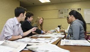 Republican-American Journalism Academy participants in 2012 as they practiced designing a newspaper page. From left to right: Jack McKernan, Jonathan Esty, Alexandra Pape, Knychelle Passmore, and Celeste Crespo.  Republican-American archive