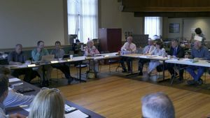 Members of the New Hartford boards of education, selectmen and finance met with the School Building Committee and the architectural firm, Kaestle Boos Associates Inc., to discuss possible revisions to a proposed security plan for the town's three elementary schools after voters rejected the proposal on May 7. Kurt Moffett Republican-American