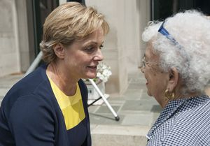 Elinor C. Carbone, a Republican candidate for mayor, left, is congratulated by Ann Giannattasio, who served as Republican town chairwoman for 25 years, during a news conference Thursday at Torrington City Hall. Jim Shannon Republican-American