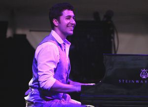Emmet Cohen of the Emmet Cohen Trio plays the piano during the opening performance of the Litchfield Jazz Festival at the Goshen Fairgrounds on Friday. John McKenna Photo