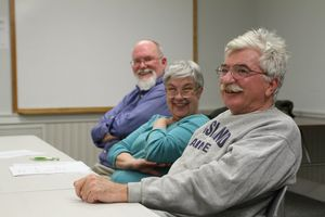 From left, Independent Party members Alan Mickel, Elizabeth Wasiutynski, and Bohdon Wasiutynski attend at party meeting at Thomaston Savings Bank in Watertown in April. Mickel and Elizabeth Wasiutynski are running for Town Council.