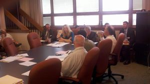 Winsted Finance Director Robin L. Manuele and Town Manager Dale L. Martin, sitting at the head of the table, were among several town officials who met with the state Municipal Finance Advisory Commission Thursday to discuss the town's financial woes. Kurt Moffett Republican-American