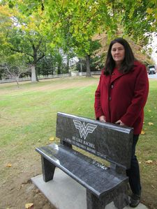 Mary D'Avino stands behind a bench in Bethlehem's town green donated in memory of her daughter, Rachel D'Avino, one of the six educators killed in the Dec. 14 shooting at Sandy Hook Elementary School in Newtown. Rick Harrison / Republican-American