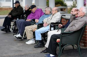 Bill Justus, a resident of Emeritus at Litchfield Hills, salutes Monday during a Veterans Day ceremony. Alec Johnson/RA