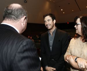 Actor and Waterbury native Dylan McDermott, center, chats with Waterbury Mayor Neil M. O'Leary and McDermott's sister Robin McDermott-Herrera of Essex, during an induction ceremony at Holy Cross High School in Waterbury Saturday afternoon. McDermott was one of the five honorees inducted into the Silas Bronson Library's Waterbury Hall of Fame. Christopher Massa Republican-American