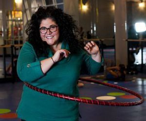 Nicole Heriot of Ansonia mixes education with exercise with her Bring the Hoopla program, which is offered at The Edge Fitness Clubs two locations, including Trumbull, and VGroove Fitness in Waterbury beginning Jan. 11. Erin Covey / Republican-American