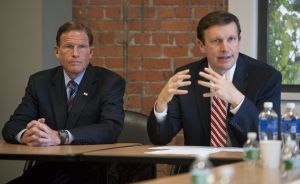 Senators Richard Blumenthal, left, and Christopher S. Murphy, both D-Conn., meet with local officials, law enforcement health care advocates and patients at Charlotte Hungerford Hospital in Torrington for a discussion on the state's growing heroin epidemic. In the past decade, heroin use has nearly doubled in the United States.   Republican-American Archive.