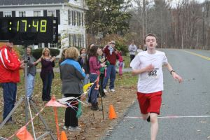 Connor Spencer of Barkhamsted wins the Run Like a Deer 5K race in Barkhamsted on Saturday. The race was held to raise funds for the high school's 2016 graduation ceremony at the Warner Theatre in Torrington. Kathryn Boughton/Republican-American