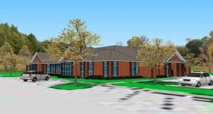 A rendering of the proposed Harwinton Public Library renovation and expansion project will be on display at the library on Saturday during Hometown Holiday. Contributed