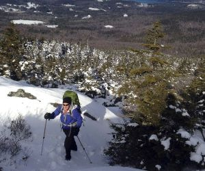 Winter hiking really does have its advantages. On a brisk winter day, you can climb to the summit of Mount Monadnock without breaking a sweat. No bugs, either! (Justin Jones/EasternSlopes.com photo)