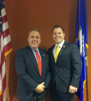 State Rep. Eric Berthel, left, and campaign manager Joseph Polletta.