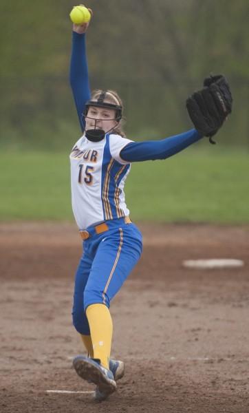 Seymour's Raeanne Geffert (15) delivers a pitch during their game against Woodland Wednesday at Woodland Regional High School in Beacon Falls. Jim Shannon Republican-American