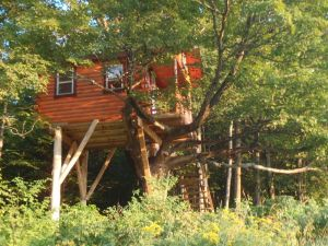 Treehouse: If a tent isn't right for you, how about a treehouse? This is one of several at Au Diable Vert in QuebecþÄôs eastern Townships. (Tim Jones/EasternSlopes.com photo)