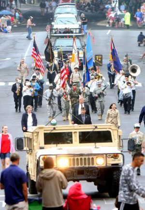 Veterans march down Maple Street during the Memorial Day parade in Naugatuck on Monday. Steven Valenti Republican-American