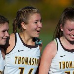 Thomaston captains, from left, Nicole Schaefer, Morgan Sanson and Gabrielle Hurlbert  celebrate their team's 2-1 win over Haddam-Killingworth to capture the Class S state championship  Saturday at Wethersfield High School. Jim Shannon Republican-American