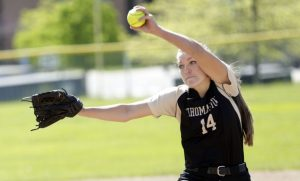 Thomaston, CT- 20 May 2016-052016CM01-  Thomaston's Morgan Sanson delivers a pitch during their 7-4 win over Nonnewaug in Thomaston on Friday.     Christopher Massa Republican-American
