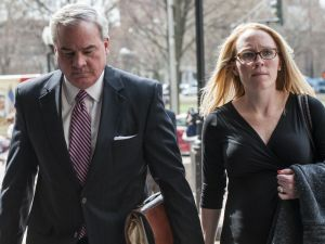 Former Gov. John Rowland, shown walking into federal court in New Haven two years ago, with his lawyer Kaitlin A. Halloran. Rowland is appealing his conviction. Republican-American archive