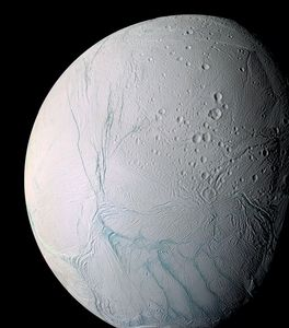 This undated photo provided by NASA on April 2, 2014 shows Saturn's moon Enceladus. The