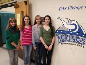Torrington Middle School eighth grade students Ashley Civelli, Lauren Gaghan, Catherine Butrick and Anna Anna Clinckscales have been selected to be wreath bearers when they visit the Tomb of the Unknown Soldiers at Arlington National Cemetery in Washington. Next week, 134 students will be visiting Washington for the annual class trip. Bruno Matarazzo Jr. Republican-American