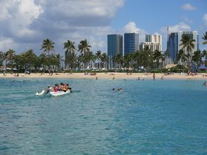 This May 21, 2014 photo shows Duke Kahanamoku Beach in the Honolulu tourist neighborhood of Waikiki in Hawaii. The destination topped this year's annual ranking of the best public beaches in the United States as chosen by Stephen Leatherman, better known as Dr. Beach. (AP Photo/Sam Eifling)