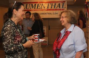 Myrna Watanabe, right, of Harwinton, the Democratic candidate for state representative in the 76th House District, talks with Secretary of the State Denise Merrill during the opening of the Litchfield Democratic Town Committee's election headquarters Tuesday on Meadow Street. Gayle Carr of Litchfield, the Democratic candidate for state representative in the 66th District, also attended the opening. John McKenna Republican-American