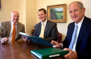 From left, Jeffery A. Lalonde, CEO, Eric Erdtmann, Senior Vice President Commerical Leasing, and John E. Janco, President and Chief Operating Officer work at Torrington Savings Bank in Torrington Monday. Torrington Savings Bank has set up a new commercial lending department.  Steven Valenti Republican-American