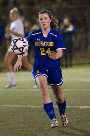 WATERBURY, CT- 11 November 2014-111114EC03-- Action man. Housatonic's Chloe Dakers against Oxford Tuesday night. Housatonic won the Class S semifinal game, 3-2 at Municipal Stadium. Erin Covey Republican-American