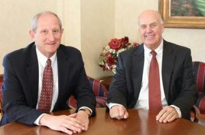 John E. Janco, left, became the new president and chief operating officer of Torrington Savings Bank on Jan. 1. Jeffrey A. Lalonde, right, remained as the bank's chief executive officer until he retired this month. Contributed.