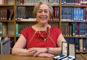 SOUTHBURY CT. 06 June 2014-060614SV04-Yolande Bosman, a French teacher since 1974 at Pomperaug High School, just retired as consul honorare der France, a largely ceremonial position. The French government has knighted her. She is now Head of Foreign Languages for Region 15. This is her at the school in Southbury Friday.   Steven Valenti Republican-American