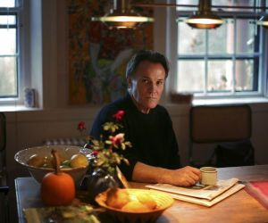 Salisbury, MA 11/20/2007 - Ring's Island - This is a portrait of novelist, painter and nonfiction writer Frank Schaeffer at his home in Salisbury, MA. He just wrote a memoir going over his growing up in his parents Swiss religious commune of sorts, his youthful involvement with the American religious right, and his subsequent horrified disenchantment. Story by Joel Brown/Globe Correspondent. Dina Rudick/Globe Staff.
