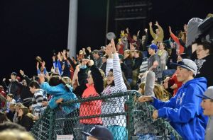 Fans react to a between-innings contest Thursday night at New Britain Stadium. (Photo courtesy of the New Britain Rock Cats)