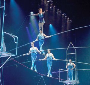 The Danquire Troupe performs its high-wire act with the Ringling Bros. and Barnum & Bailey Circus. The circus will be at the Webster Bank Arena in Bridgeport from Oct. 20-23. (Contributed photo)