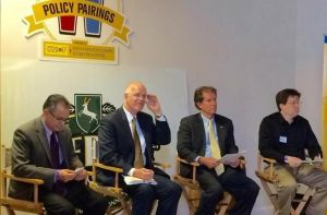 Stephen LaRosa, left, of Alexion Pharmaceuticals, left, listens to a question along with state Comptroller Kevin Lembo, second from left, Sen. Scott LaFrantz, R-Greenwich, and moderator Keith Phaneuf of The Connecticut Mirror during a discussion about state tax policy Thursday at Shebeen Brewing Co. in Wolcott. Petrosky - Twin sons, Bentley Tyler and Mason Tyma, to Kevin Petrosky and Jennifer Fenske of Waterbury, April 10, at Waterbury Hospital.